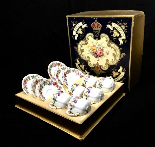 Royal Crown Derby Vintage Boxed Posies / Roses Tea Set / Cup & Saucer